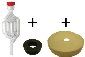 Air lock and lid kit for fermentation.